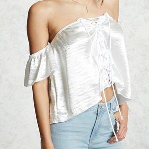 FOREVER21 Silk White Strapless Top
